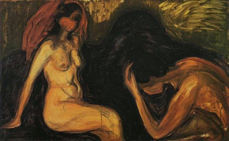 "Edvard Munch, ""Mężczyzna i kobieta"", olej na płótnie, 60,2 x 100 cm"