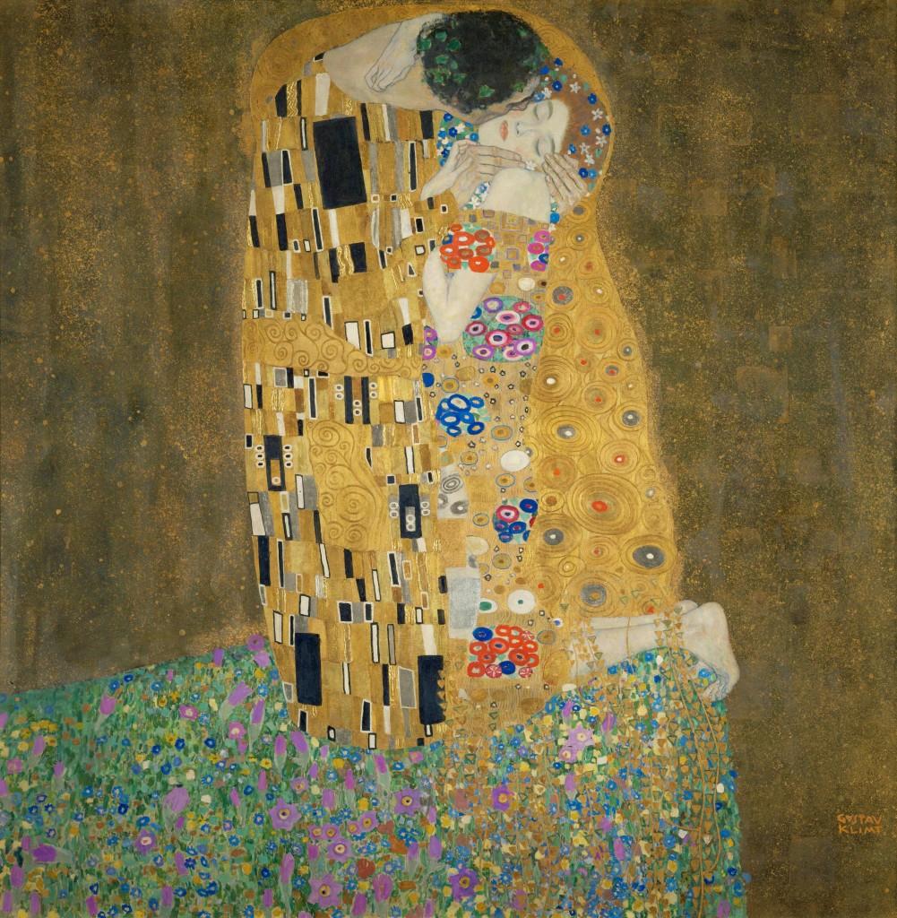 """Gustav Klimt, """"Pocałunek"""", olej na płótnie, 180 x 180 cm"""